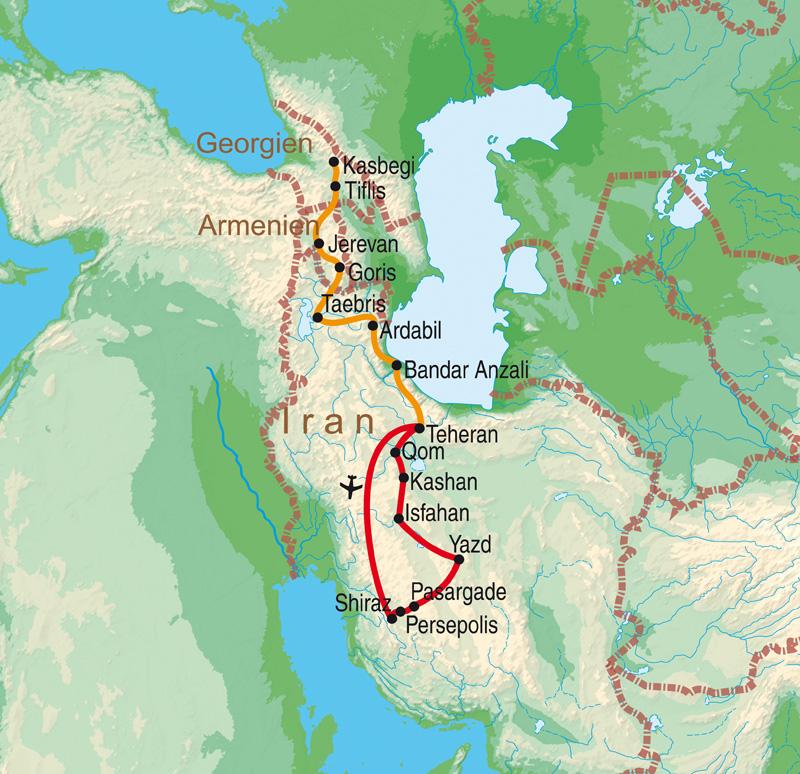 Georgien Karte.19 Tage Iran Georgien Armenien Rundreise In Kleiner Gruppe Auf