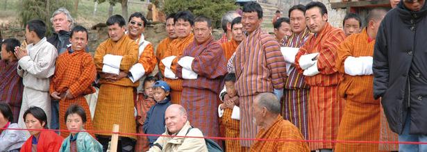 Das Klosterfest findet einmal im Jahr in Bhutan statt
