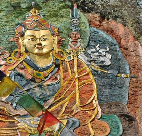 Bhutan Klosterfest Felsenbild