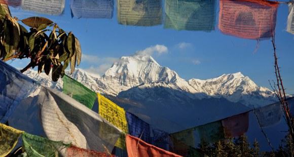 Ausblick auf den Poon Hill in Nepal und im Vordergrund bunte Gebetsfahnen