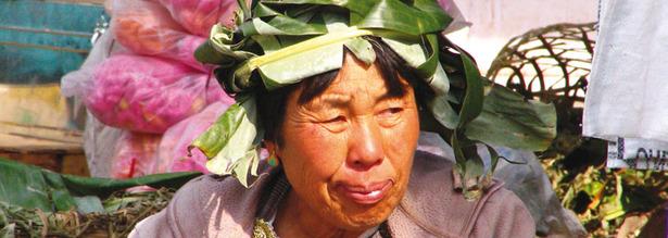 Marktfrau in Punakha Bhutan