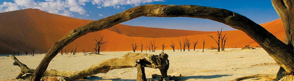 Blick auf die Sossusvlei Dünen in Namibia, die im Abendlich rot leuchten