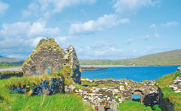 Klosterruinen von Abbey Island am Derrynane Beach auf der Kerry Halbinsel im Süden von Irland