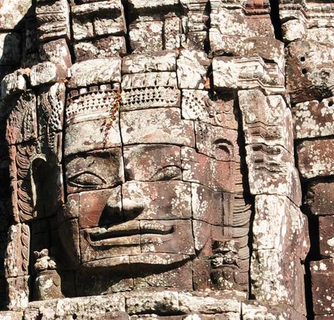 Gesicht am Bayon Tempel in Angkkor nahe Siem Reap in Kambodscha